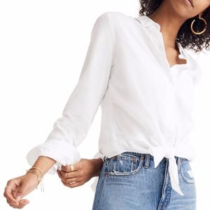 MADEWELL Tie-Front Cotton Shirt